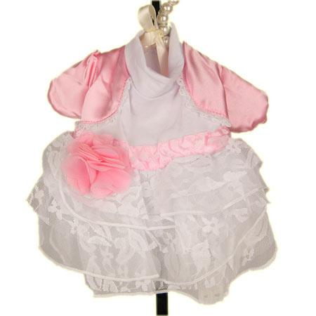 Vestito da Damigella per Cani in Bianco e Rosa