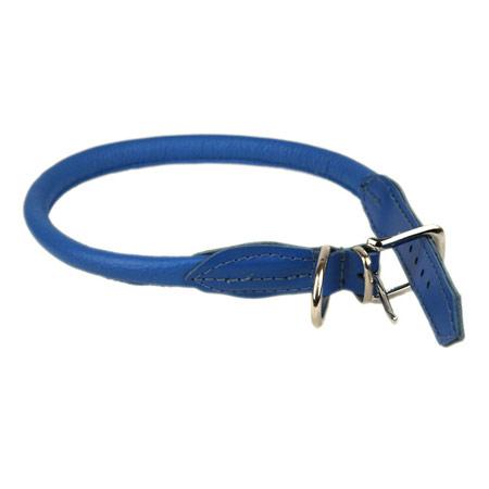 Collare Rotondo in pelle Azzurro per Cani