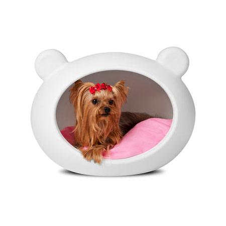 Cuccia Deluxe chiusa per Cani in Bianco con Cuscino Rosa