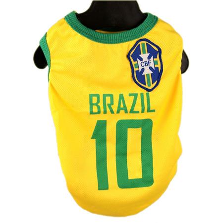 Maglietta Calcio del Brasile per Cani