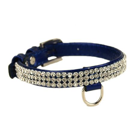 Collare in Pelle con Strass Blu Elettrico per Cani Piccoli