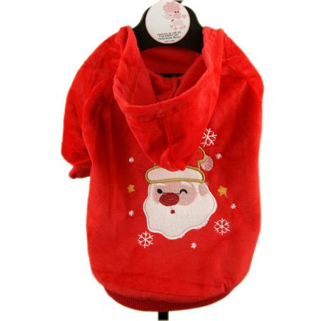 Felpa Rossa per Cani con Babbo Natale