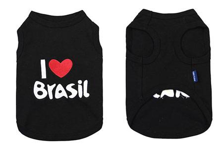 Canotta per Cani I LOVE Brasil Nera