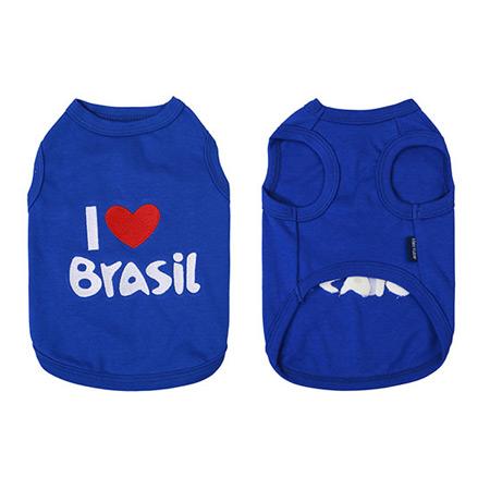 Canotta per Cani I LOVE Brasil Blu