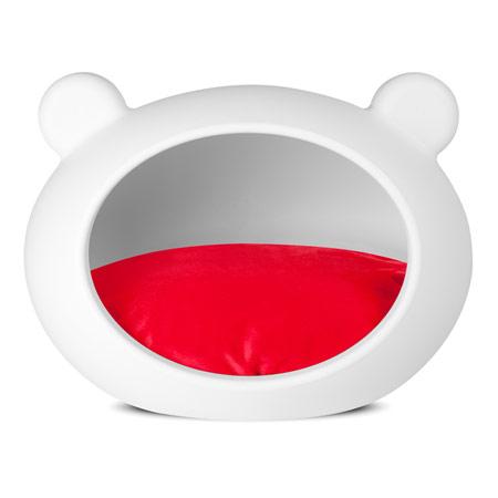 Cuccia Deluxe chiusa per Cani in Bianco con Cuscino Rosso