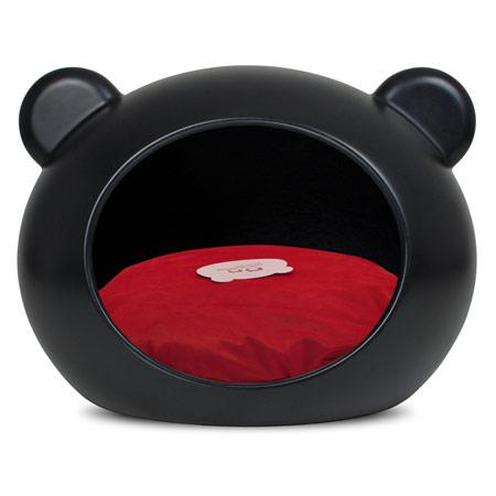 Cuccia Deluxe chiusa per Cani in Nero con Cuscino Rosso