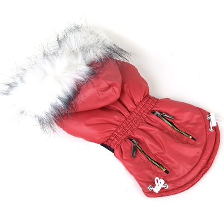 Giubbotto Rosso con Cappuccio per cani piccoli