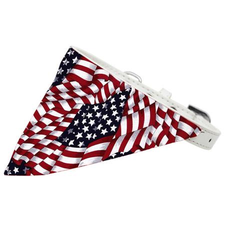 Collare Bianco con Bandana Bandiera Americana per Cani Piccoli e Grandi