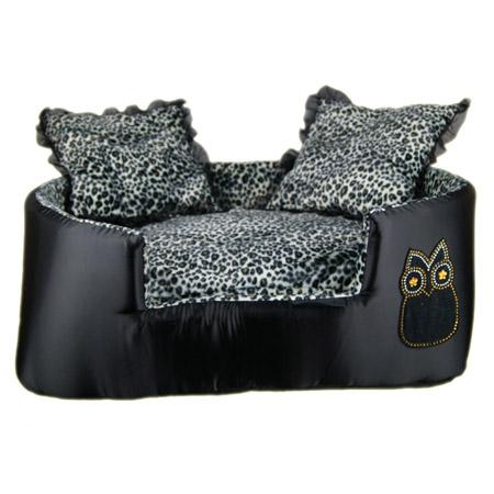 Cuccia Sofa Gufetto Nero fantasia Leopardata