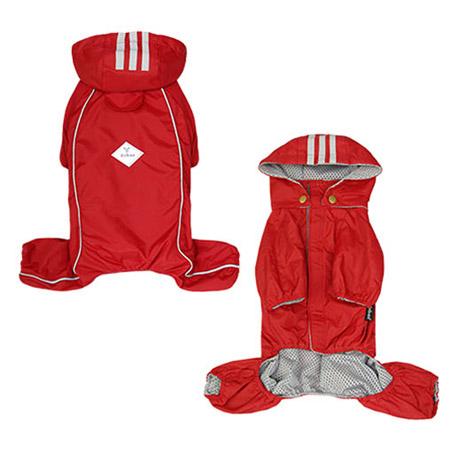 Impermeabile 4 zampe Rosso con Cappuccio Staccabile