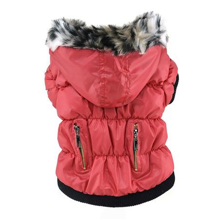Cappotto per Cani in Rosso con Zip e Cappuccio
