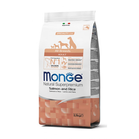 Crocchette Monge All Breeds Adult Salmone e Riso