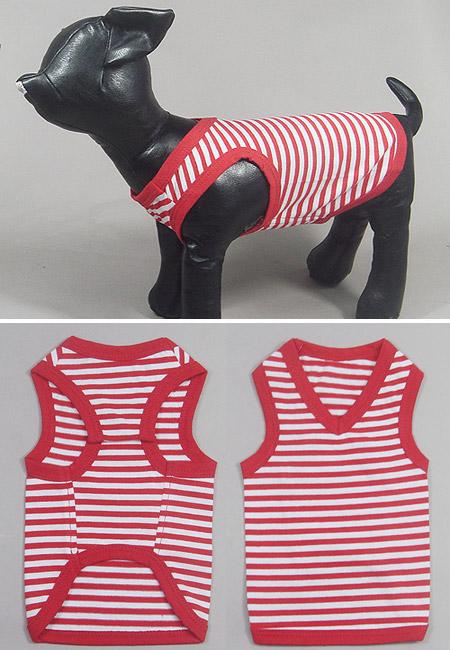 Canottiera per cani a strisce bianche e rosse