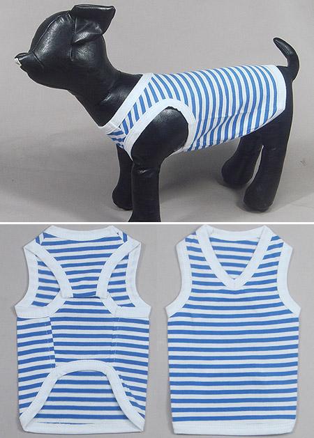 Canottiera per cani a strisce bianche e blu