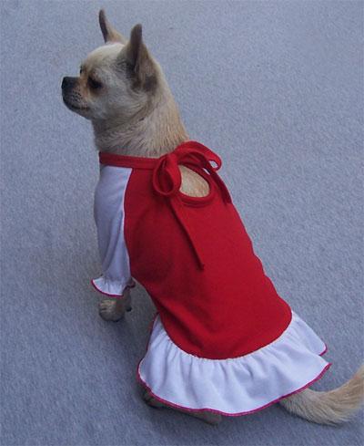 Vestitino California Rosso con gonnellina Bianca