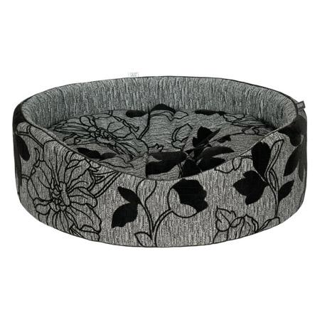 Cuccia Ovale Grigia per Cane Piccolo con Motivi Floreali