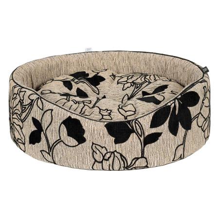 Cuccia Ovale Beige per Cane Piccolo con Motivi Floreali