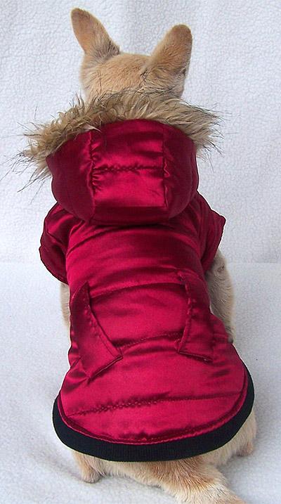 Giacca rosso porpora con cappuccio