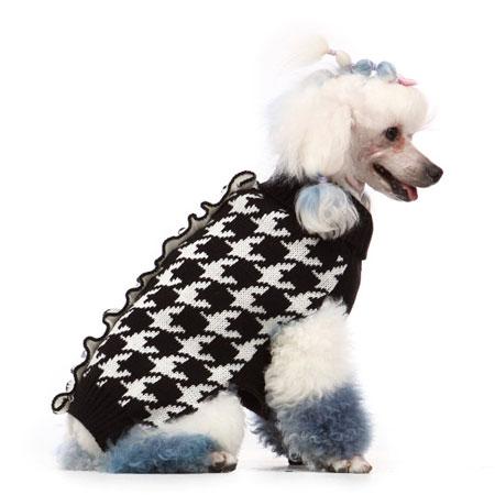 Maglione per cani pied-de-poule Bianco e Nero