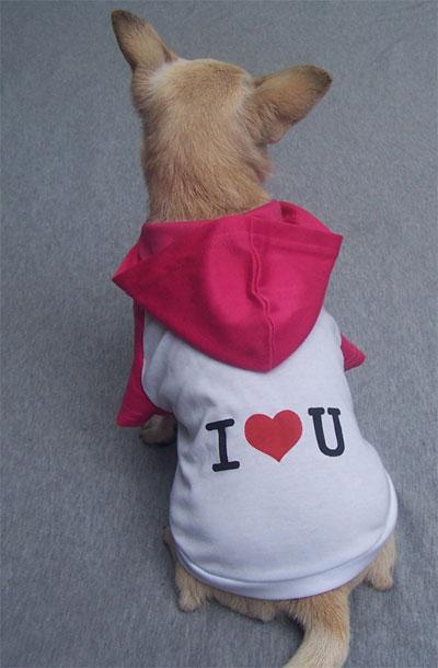 Maglietta con cappuccio I LOVE YOU bianca e viola