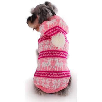 Maglione Rosa Invernale per cani con Renne