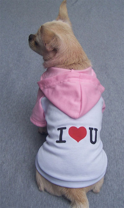 Maglietta con cappuccio I LOVE YOU bianca e rosa