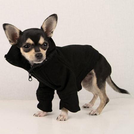 Felpa invernale Nera per cani con zip