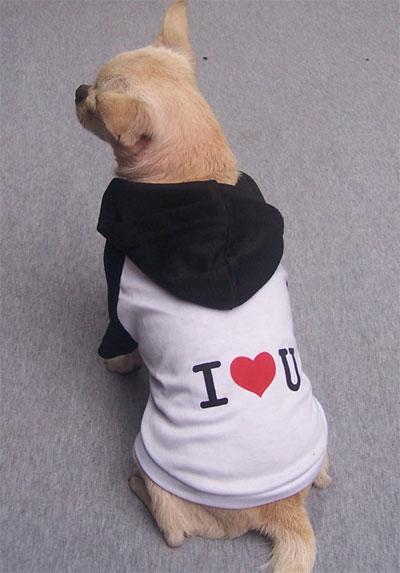 Maglietta con cappuccio I LOVE YOU bianca e nera