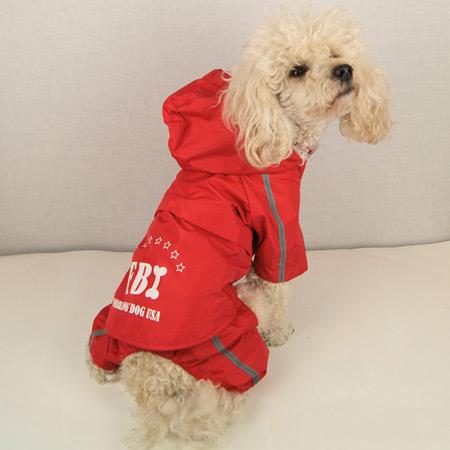 Impermeabile Rosso 4 zampe per cani modello FBI