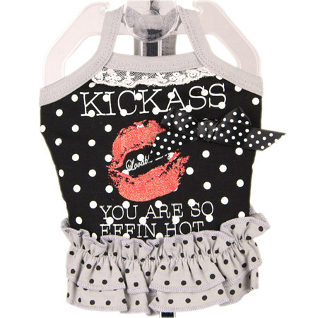 Vestito per cagnoline Kiss Kiss Nero a pois