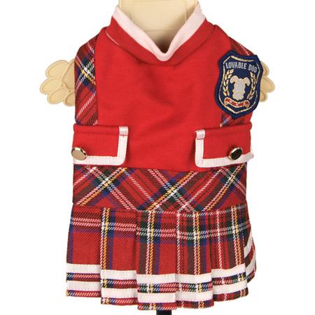 Vestito per cani College Rosso con gonna Tartan