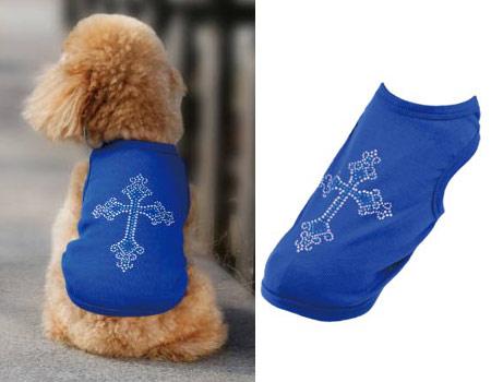 Canottiera Azzurra per cani con Croce in strass sul dorso