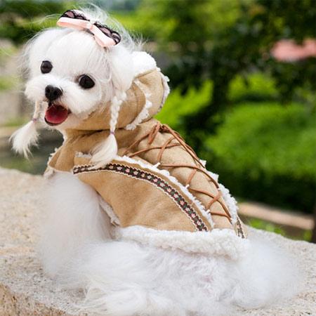 Cappotto Shearling per Cani Beige