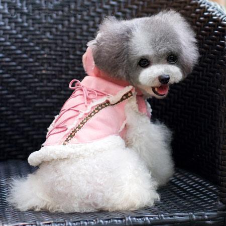 Cappotto Shearling per Cani Rosa