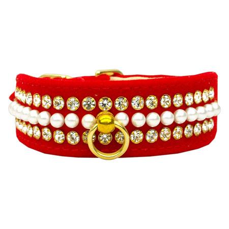 Collare Rosso in velluto con Perle e Strass