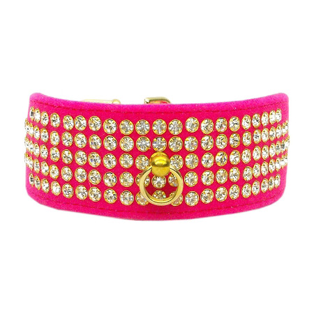 Collare Rosa in velluto con Strass
