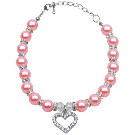 Collana per cagnolina con perle Dolce Cuore Rosa