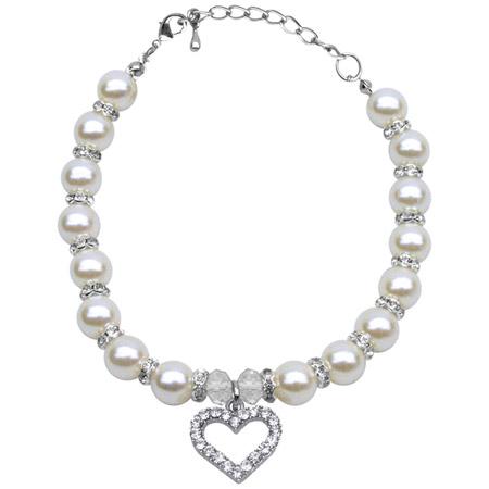 Collana per cagnolina con perle Dolce Cuore Bianca
